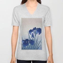 Japanese Iris Flower by  Ohara Koson Unisex V-Neck