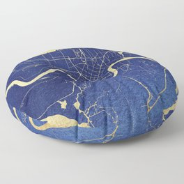 New Orleans Blue and Gold Map Floor Pillow