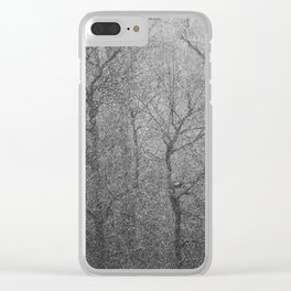 The Lines of Trees in a Whiteout Clear iPhone Case