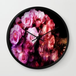 The Crystal Rose Bouquet Wall Clock