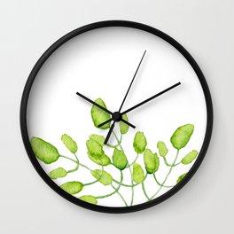 Watercolor green leaves Wall Clock