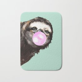 Bubble Gum Sneaky Sloth in Green Bath Mat