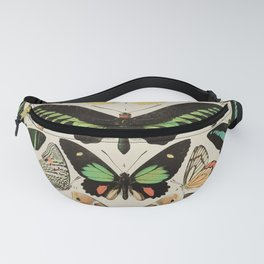 Papillon II Vintage French Butterfly Chart by Adolphe Millot Fanny Pack