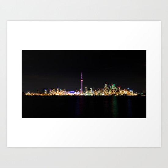 Toronto Skyline At Night From Centre Island Art Print