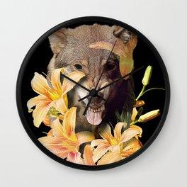 Wolfish flowers Wall Clock