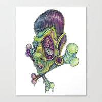frank Canvas Prints featuring Frank by Kikillustration