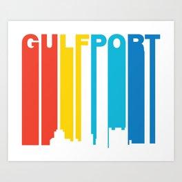 Retro 1970's Style Gulfport Mississippi Skyline Art Print