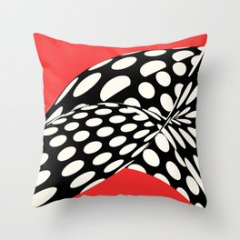Wavy Dots on Red Throw Pillow