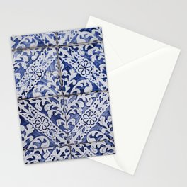 Portuguese Tiles - Azulejo Blue and White Floral Leaf Design Stationery Cards