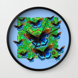 EXOTIC BLUE-BROWN BUTTERFLY ART Wall Clock