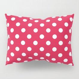 Small Polka Dots - White on Crimson Red Pillow Sham