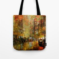 detroit Tote Bags featuring An evening in Detroit by Joe Ganech