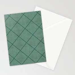 Stitched Diamond Geo Grid in Green Stationery Cards