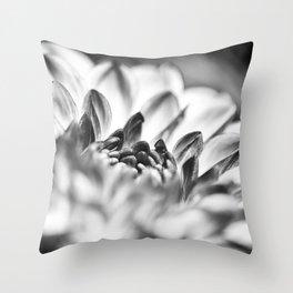 White Dahlia Macro Throw Pillow