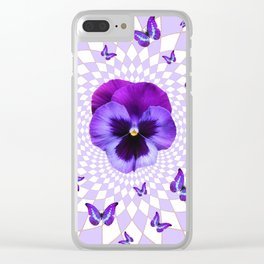 PURPLE BUTTERFLIES & PANSIES GEOMETRIC WHITE PATTERN Clear iPhone Case