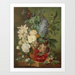 Albertus Jonas Brandt - Flowers in a terra cotta vase Art Print
