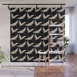 delicate japanese cranes pattern Wall Mural
