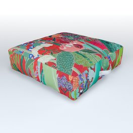 Red floral Jungle Garden Botanical featuring Proteas, Reeds, Eucalyptus, Ferns and Birds of Paradise Outdoor Floor Cushion