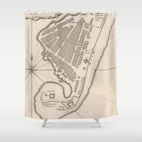 jamaica Shower Curtains featuring Vintage Map of Port Royal Jamaica (1764) by BravuraMedia