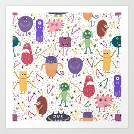 Colorful Friendly Monsters Art Print