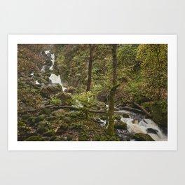Lodore Falls waterfall after heavy rain. Borrowdale, Cumbria, UK. Art Print