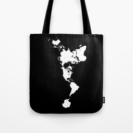 Dymaxion World Map (Fuller Projection Map) - Minimalist White on Black Tote Bag