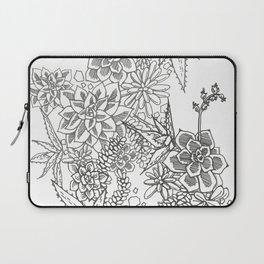 Succulent doodle - black + white Laptop Sleeve