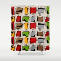 mid century Shower Curtains featuring Mid-Century Abstract #77 by Kippygirl