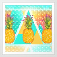 pineapples Art Prints featuring Pineapples by Ornaart
