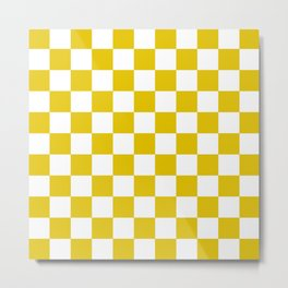 Checker Texture  (Gold & White) Metal Print