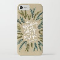 the mountains are calling iPhone & iPod Cases featuring Mountains Calling – Kraft by Cat Coquillette