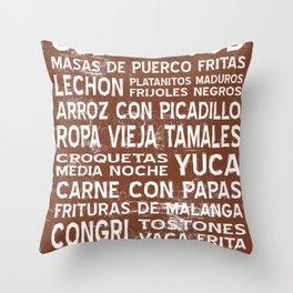 Cuban Food Word Food Art Poster (Brown) Throw Pillow