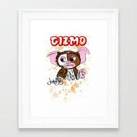 gremlins Framed Art Prints featuring GIZMO - GREMLINS ILLUSTRATION  by Jonboistars