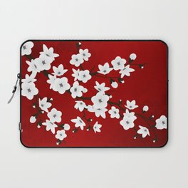 Red Black And White Cherry Blossoms Laptop Sleeve