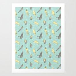 Cockatiel pattern Art Print