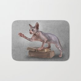 Drawing Sphynx kitten, hairless Bath Mat