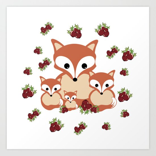 Family of foxes in winter Art Print