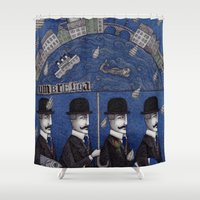 men Shower Curtains featuring Four Men Waiting by Judith Clay