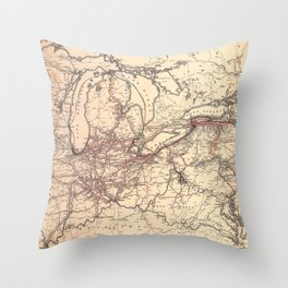 New York Central & Hudson River Railroad Map (1900) Throw Pillow