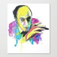 roald dahl Canvas Prints featuring Roald Dhal Watercolor by Enerimateos
