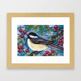 Yuletide Chickadee Framed Art Print