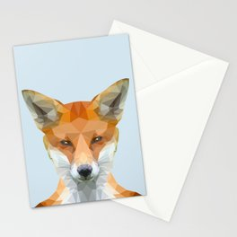 Low poly fox on blue/grey background Stationery Cards