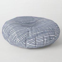 Abstract Stripes Pattern, Indigo, Navy Blue Floor Pillow