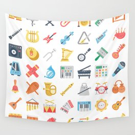 CUTE MUSICAL INSTRUMENTS PATTERN Wall Tapestry