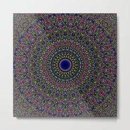 Colorful Sacred Kaleidoscope Mandala Metal Print