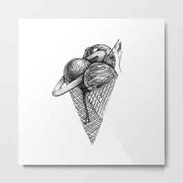 ice cream space invaded Metal Print