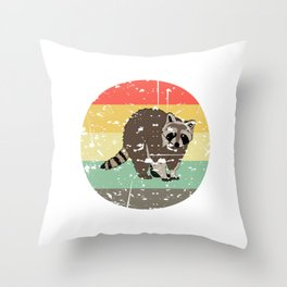 Retro Tee For Animal Lovers With A Cute Nice Illustration Of A Raccoon Forestry Animals Forester  Throw Pillow