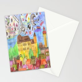 1561 Aerial Battle Over Nuremberg Reimagined from Kaiserberg Stationery Cards