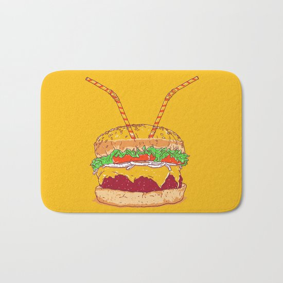 Burger for two Bath Mat