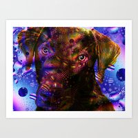 lab Art Prints featuring Chocolate Lab by Roger Wedegis